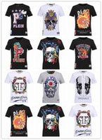 Wholesale 2017The new Summer Men S Fashion Brand PP Short Sleeve T Shirt Men Casual Solid Color High Quality Skulls Sports Camisetas T Shirt
