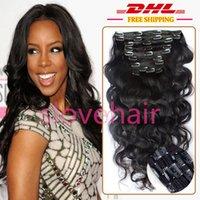7A Unprocessed Peruvian clip de onda del cuerpo en extensiones de cabello humano, clip 1B en el cabello 9 piezas de cabeza completa, peruano clip de pelo ondulado