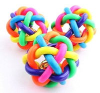 Wholesale Pet color sounding toy ball color woven ball cm small bell Educational toys