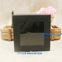 Wholesale cm30pcs freeshipping black paper packing box with plastic clear window custom display box for gift craft cupcake favors