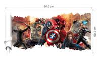 Wholesale 3D Avengers popular super hero wall sticker for kids room boys bedroom walldecals window poster D Ca wallpaper free shiping