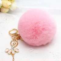 Wholesale Creative diamond angel car cheap new beautofui key chain handbag accessories plush rabbit hair bulb key chain pendant