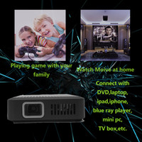 Wholesale lumens DLP HD Mini Portable Projector Cheapest DLP Beamer with mAh Battery HDMI VGA AV USB TF Black color for Bussiness