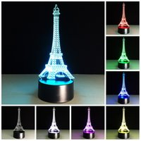 Acheter Tours d'éclairage dirigé-Livraison gratuite Lumière de nuit colorée 3d lumière tour Eiffel lampe de lumière Fancy conduit table de bureau lampe Home Decor chambre à coucher lecture éclairage