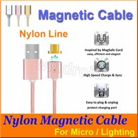 Wholesale 1M Magnetic USB Data Charger Cable Nylon Braided Wire Micro lighting USB Magnetic Cable for iPhone s Plus s iPad mini Samsung Free DHL
