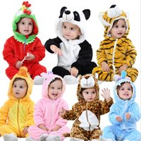 Wholesale Baby rompers winter plush jumpsuit panda animal zipper Mother Nest newborn baby Boy Girl clothes body bebe clothing rompers