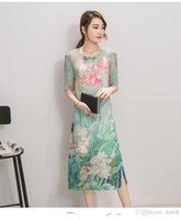 Wholesale The real shot summer new women commuter long paragraph two piece A word dress printing silk dress