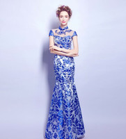 annual flowers pictures - New Arrival Hot Sale Fashion Elegant Stage Performance Royal Blue Porcelain Sexy Annual Cheongsam Porcelain Toast Bridal Evening Dress