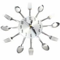 Wholesale 2017 New Sliver Cutlery Kitchen Wall Clocks Home Decor Spoon Fork Wall Clock Watch Creative Mirror Wall Stickers