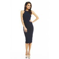 Wholesale Slim Pleated Women Bodycon Dresses Mature Sleeveless Crew Neck Pencil Dresses for Ladies with Cap Sleeve