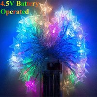 aa wall lamps - M5M10M V AA Battery Operated Five pointed Star LED String Christmas Light Wedding Window Curtain Wall Lamp Roof Garden
