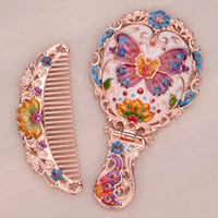 Wholesale Rose Gold Plating Multi Color Hand Paint and Jeweled Butterfly Design Metal Hand Mirror and Comb Set