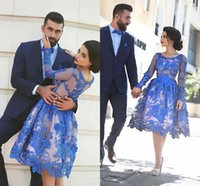 Wholesale 2017 Royal Blue Evening Dresses Long Sleeves Knee length D Floral Appliques Formal Gowns Arab Dresses HY00866
