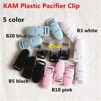 Wholesale color mixed CM Kam Brand Plastic Baby Pacifier Dummy Chain Holder Clips for mm ribbon Soother Suspender Clips