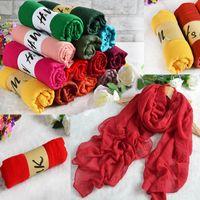 Vente en gros-180 * 80 CM Mode 2016 Nouvelle marque Designer écharpe Femmes en coton d'hiver mélangé Solid Echarpes Foulards Femme Foulards 99633
