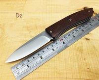 acid density - High quality lionsteel High density encoding D2 steel HRC blade Acid branch wooden handle Hunting Knife Pocket Survival gift knife