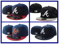 atlanta animals - Atlanta Braves Fitted Caps Embroidered A Letter Logo Baseball Cap Cool Base Full Closed Flat Brim Hip Hop Braves hats