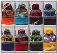Wholesale New Sideline Sport Knit Hat Heather Gray Football Pom Knit Hats Sports Cap Beanies Hat Mix Match Order All Caps Top Quality Hat