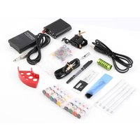 Wholesale US Plug Complete Tattoo kits Pro Gun machine Power Pedal Color ink sets power supply disposable needle Grip Tip Quality