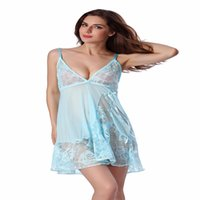 Wholesale Sexy Sleep Dress Women Lingerie - Plus Size See Through Deep V Neck Lace Halter Slip Silk Night Wear Women Sleeping Dress Sexy Lingerie Women Nightgown Sleepwear