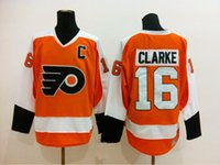 Wholesale Christmas Special Bobby Clarke Jersey Home Orange White CCM Vintage Ice Hockey Jerseys Embroidery Logos All Stitched High Quality Free