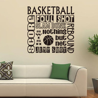 basketball graphic designs - 57x57cm English Motto Basketball Sport Vinyl Wall Stickers Removable Art Mural for Home Decoration Kids Bedroom