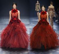 al por mayor vestidos ocasionales-2017 Elie Saab modelo rojo oscuro vestidos de noche Haler Cuello Peplum Wuth 3D flor de la flor formal ocasional vestido de fiesta de baile por encargo