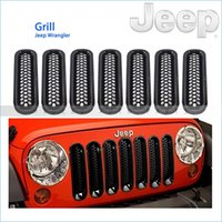 Wholesale 7pcs Front Grill Mesh Grille Insert Kit For Jeep Wrangler Rubicon Sahara Jk ABS Material
