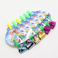 Wholesale lovely cartoon elsa and anna kids happy birthday party decoration supplies favor blowout festival noisemaker blow out