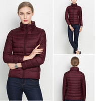 Wholesale Down jacket for women Short women down coats Stand collar Thin slim Light weight white duck colors solid jackets winter