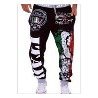 Wholesale Cargo Pants for Men Spring summer Fashion Flag Printing Design Elastic Waist Men s Sports Bodybuilding Loose Pants US Size XS L