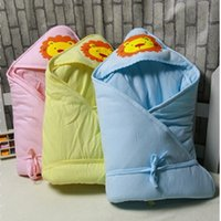 Wholesale Newborn Winter Swaddle Wrap Blanket infant baby Cartoon Lion Cotton Sleeping Bag Bedding Fits Car Seat Pushchair M WA1681