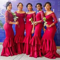achat en gros de robes de mariée manches rouges-2017 Off-the-Shoulder Red sirène manches longues Beadings élégant Tiered robes de demoiselle d'honneur robes de mariée formelle soir robes de bal