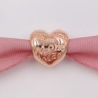 Compra Corazón del oro de la pulsera 925-Auténtico 925 cuentas de plata Corazón Rose encanto con la mamá en diferentes idiomas Se adapta a Europa Pandora estilo joyas pulseras 781112 Oro plateado