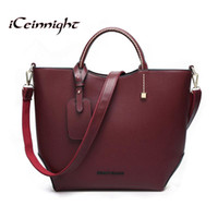 Ведра оптовой Цены-Оптово-iCeinnight европейских женщин типа сумки 2016 сумка сумки сумки способа вина красные сумки посыльного известный бренд ведро кожаный мешок