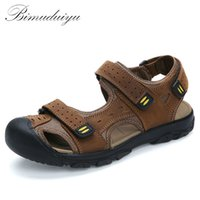 Men adhesive backing rubber feet - BIMUDUIYU Brand Summer Sandals Genuine Leather Beach Casual Shoes Foot Toe Protect Men s Quality New Large Size Rome s shoes