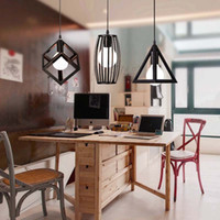 Wholesale Indoor pendant lighting iron square SA and PE triangle circle pendant lamps iron chandelier vintage light pendant lamp E27