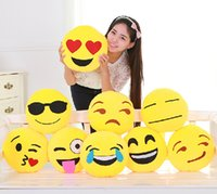 Wholesale Cute Emoji Smiley Yellow Pillows Cushion Cartoon Facial QQ Expression Yellow Round Decorative Pillows Stuffed Plush Toy