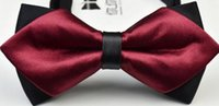 Wholesale Korean fashion bow tie trendy sharp corners lead the wedding essential polyester silk tie bow tie flower neutral