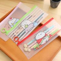 Wholesale S27 Kawaii Cute Molang Rabbit Clear Scrub Pen Bag Pencil Holder Storage Case School Supply Birthday Gift Cosmetic Makeup