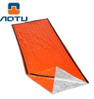 Wholesale AOTU Portable Emergency foil Reusable Waterproof Rescue Space Thermal Sleeping Bag Outdoor Camping Travel Hiking travel kits