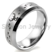 bevel design - SHARDON mm Bevel Tungsten Carbide comfort fit lasered Deer Hunting design Ring for Men Outdoor Wedding Band