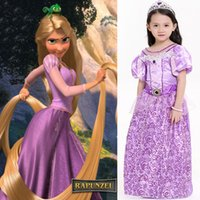 4-8T beauty tale - 2017 Cosplay Rapunzel Princess Dresses Children Girls Printed Party Beauty Gauze Lace Costume Dress Easter Halloween Christmas Gifts PX A22