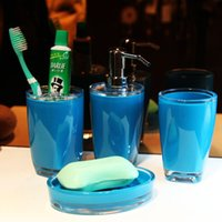 acrylic soap dish - Mediterranean Sea Blue Bathroom supplies kit Toilet four piece set acrylic Rinsing mug set cup toothbrush shelf lotion bottle soap dish