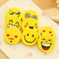 >6 years old Fruit Pencil Eraser Wholesale-Cute Rubber 4pcs Smile Style Yellow Pencil Eraser School Supplies Office Supplies Kawaii Stationery Products Gift For Kids