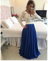 bamboo flooring designs - 2016 New Design Charming Long A line Royal Blue Chiffon White Lace Top Evening Dresses Long Sleeves Prom Party Gown