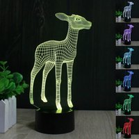Wholesale Deer D LED Lamp Light USB Colorful Color Change Night Light for Wedding Deco Innovative Gift Present Touch Lamp