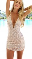 Wholesale Europen and American Style Sexy Deep V Neck with sequins women lady Bodycon Short dress with strap to XL