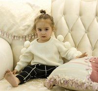 Wholesale Baby girls boys cotton ball white sweater children kids fashion clothing sweaters pullover spring jumper outwears clothes