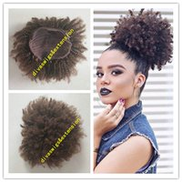 Afro Kinky Curly Weave Ponytail Coiffures Clip ins Brown cheveux humains Ponytails Extensions cordon queue de cheval courts cheveux haut de cheval100g